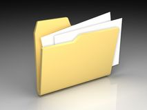 Folder icon. Set series. Standard open yellow folder with documents on background of the gradient Royalty Free Stock Photography