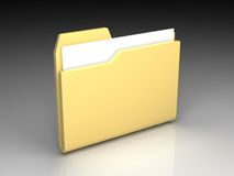 Folder icon. Set series. Standard yellow folder with documents on background of the gradient Stock Photos