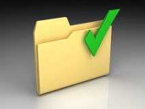Folder icon. Set series. Standard yellow folder with green check mark on background of the gradient Stock Image