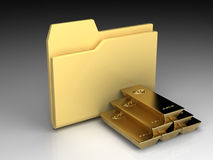 Folder icon. Set series. Standard yellow folder with gold bullions on background of the gradient Stock Image