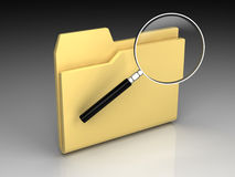 Folder icon. Set series. Standard yellow folder with magnifying glass on background of the gradient Royalty Free Stock Photo
