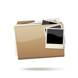 Folder icon. Folder with documents and photo cards isolated on white background Stock Photography