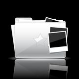 Folder icon. White glossy folder with documents and photo cards isolated on black background Stock Photos