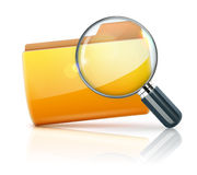 Folder icon. Vector illustration of search concept with yellow folder icon and magnifying glass Royalty Free Stock Photo