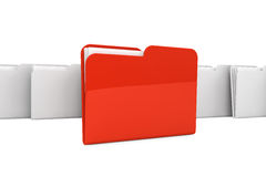 Folder icon. Documents organized concept. Red Folder with paper on a white background Stock Photos
