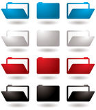 Folder icon. Illustrated 3d folder icons in four colour variations Stock Photo