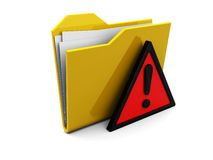 Folder icon with attention sign. 3d illustration of folder icon with red error symbol Royalty Free Stock Image