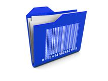 Folder icon with barcode. 3d illustration of blue folder icon with bar-code on it Stock Images