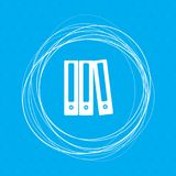 Folder icon on a blue background with abstract circles around and place for your text. Illustration Royalty Free Stock Images