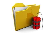 Folder icon with bomb Stock Photo