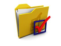Folder icon with checkbox Stock Image