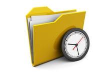 Folder icon with clock Royalty Free Stock Photos