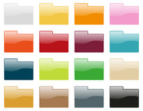Folder icon collection. Set of 16 folder icons in different colors Royalty Free Stock Images