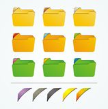Folder icon with colorful ribbons Royalty Free Stock Images