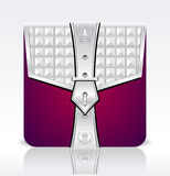 Folder icon with crown leaves silver red colors Royalty Free Stock Photo