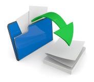 Folder icon, data transfer. One computer folder with a green arrow (3d render Stock Photos