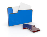Folder icon, data transfer. One computer folder with a red arrow (3d render Royalty Free Stock Photography