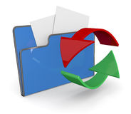 Folder icon, data transfer. One computer folder with two arrows (3d render Stock Photo