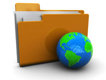 Folder icon with earth. 3d illustration of folder icon with earth globe, over white background Stock Photo