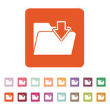 The folder icon. File download symbol. Flat. Vector illustration. Button Set Stock Photos