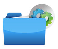 Folder icon with gear wheel. Illustration design over white Royalty Free Stock Images