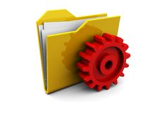 Folder icon with gear wheel Stock Photo