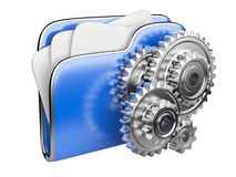 Folder icon with gear wheel. 3d illustration of folder icon with gear wheel. settings sign Stock Photography