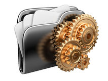 Folder icon with gear wheel. 3d illustration of folder icon with gear wheel. settings sign Stock Photo
