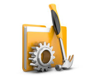 Folder icon with gear wheel and hammer. Settings sign Royalty Free Stock Photos