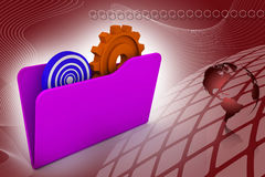 Folder icon with gear wheel and target Royalty Free Stock Photos