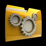 Folder icon with gear wheels Stock Images