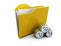 Folder icon with gear wheels Stock Photo