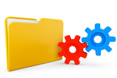 Folder icon with gear wheels Stock Image