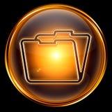 Folder icon gold Stock Photography