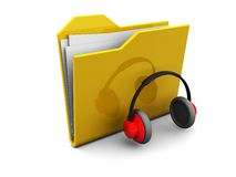 Folder icon with headphones Royalty Free Stock Photography