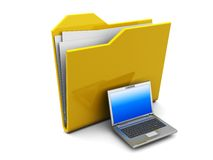 Folder icon with laptop Royalty Free Stock Photo