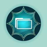 Folder icon magical glassy sunburst blue button sky blue background stock images