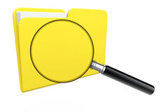 Folder icon with magnifier. Search Concept. Folder icon under the magnifier on a white background Stock Photography
