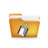 Folder icon with metal lock  Royalty Free Stock Photography