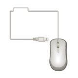 Folder icon of the mouse cable. Folder icon of the mouse cable on a white background. Vector illustration Stock Images