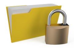 Folder icon with padlock. Isolated on white background Royalty Free Stock Images