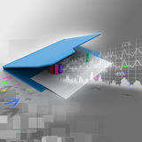 Folder icon with paper sheet and 3D Graph Royalty Free Stock Image