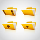 Folder icon with paper on white. Vector Royalty Free Stock Photo