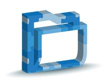 Folder icon in puzzle Stock Images