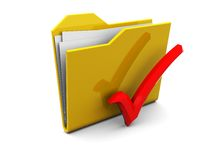 Folder icon with red tick Royalty Free Stock Photography