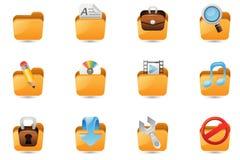 Folder icon set. Illustration of folder icon set Stock Images