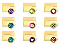 Folder icon set of 9. On white background Royalty Free Stock Photo