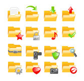 Folder icon set. Set of 16 folder icons Stock Image