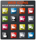 Folder icon set. Folder icons set in flat design with long shadow Royalty Free Stock Image