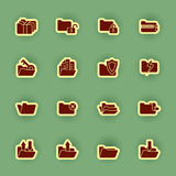 Folder Icon Set Isolated On Green Royalty Free Stock Photography